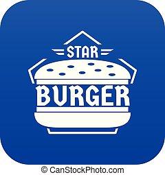 Star burger icon blue vector