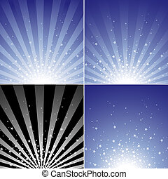 Star Burst Set - Abstract Background Collection, Vector...