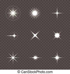 Star burst with sparkles over transparent background