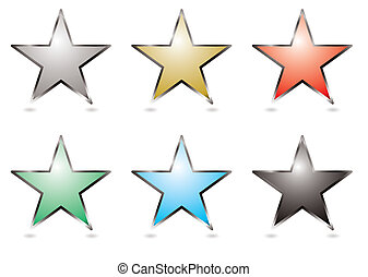 Six star shapped buttons with a silver bevel
