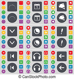 Star, Calendar, CCTV, Arrow down, Moon, Exclamation mark, Media skip, Headphones, Arrow left icon symbol. A large set of flat, colored buttons for your design.