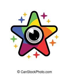 Star Camera Shutter Lens Colorful Logo Icon Vector