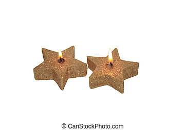 star candles with clipping path