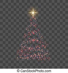 star., card., lumière or, symbole, decoration., arbre, illustration, transparent, année, arrière-plan., clair, vecteur, celebration., joyeux, nouveau, vacances, noël, rouges, heureux