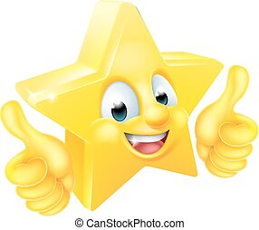 Star Cartoon Mascot Giving Thumbs Up - Cartoon star emoji...
