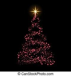 star., celebration., or, éclat, lumière, symbole, decoration., arbre, illustration, année, arrière-plan., clair, vecteur, rouges, joyeux, nouveau, vacances, noël carte, heureux