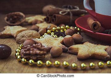 Christmas cookies with tea