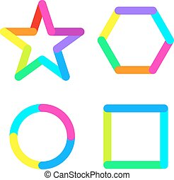 Star circle rhomb square logo sign symbol set
