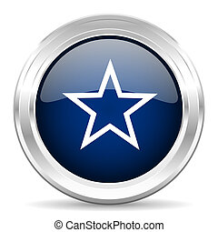star cirle glossy dark blue web icon on white background