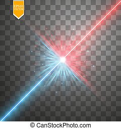 Star clash and explosion light effect, neon shining laser...