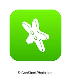 Star clothes button icon green