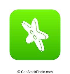 Star clothes button icon green