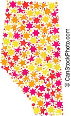Star Collage Map of Alberta Province