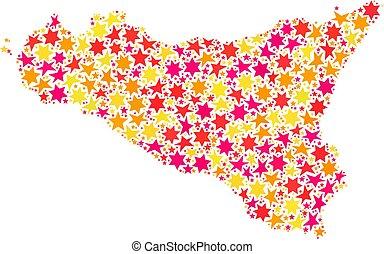 Star Collage Map Of Sicilia Island - Mosaic map of Sicilia...