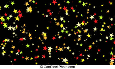 Star confetti Alpha channel - Star confetti flying in the...