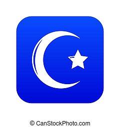 Star crescent symbol islam icon blue