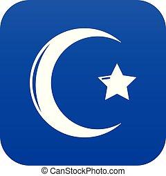Star crescent symbol islam icon blue vector