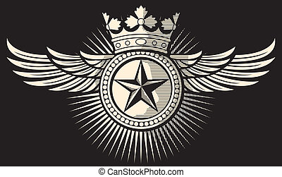 star, crown and wings tattoo (tattoo design, star badge, ...