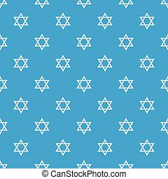 Star david judaism pattern vector seamless blue