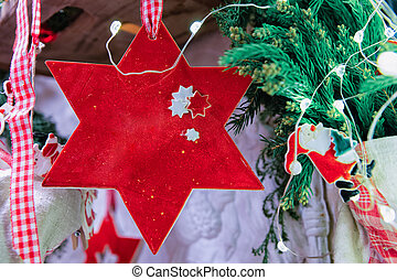 Star Decorations Night Christmas Market at Gendarmenmarkt in Winter Berlin