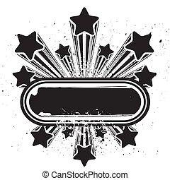 star design element - star vector grunge border