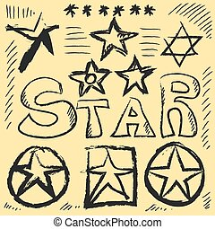 Star Doodles, hand drawn vector illustration