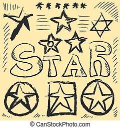 Star Doodles, hand drawn vector illustration