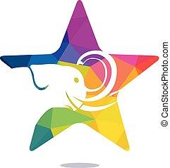 Star elephant vector logo design.