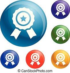 Star emblem icons set vector