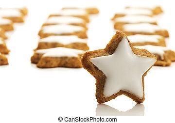 star entwickelte, viele, keks, eins, zimt, hintergrund, front, weißes