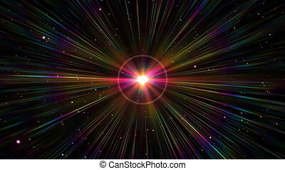 star explosion in space ray light