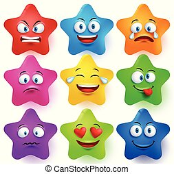 Star faces vector set with colors and facial expressions