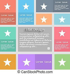 Star, Favorite icon sign. Set of multicolored buttons. Metro...