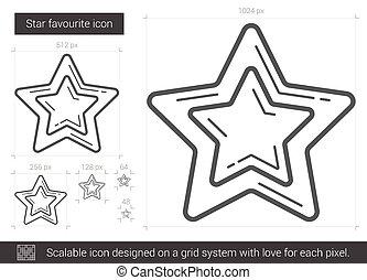 Star favourite line icon.