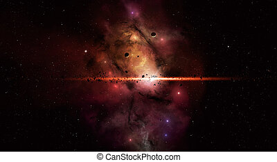 Star Field - imaginary deep space star filed with asteroids...