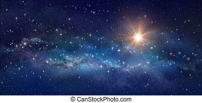 Galaxy panoramic, bright stars shining in a milky way - High definition background