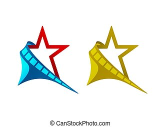 Star, filmstrip, crescent, vector illustration