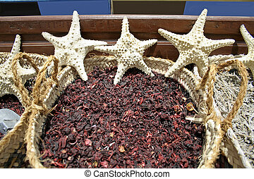 star fish and herbs at a local market in dahab, red sea ...