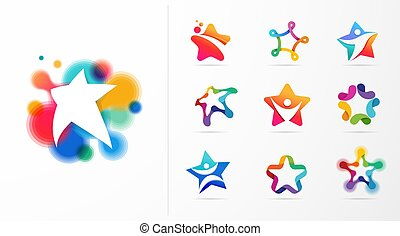 Star, fitness, sport, excellence, learning and design icons and logos. Vector design