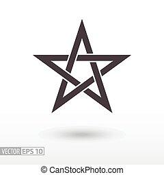 Sign Star. 5-point Celtic star knot. Pentagram - Star flat...