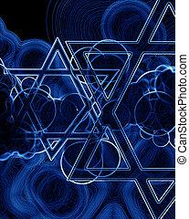 star fo david - stars of david on a dark blue background