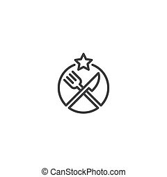 Star food, fork and knife. Vector logo icon template