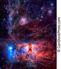 star-forming, region, låga, nebulosa, in, den, konstellation, av, orion.