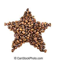 star from coffee beans isolated on white