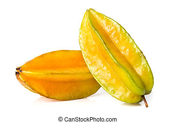 star fruit - carambola - Star fruit with water drop isolate...