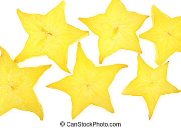 Star fruit - Tropical carambola - star fruit. Slices of...