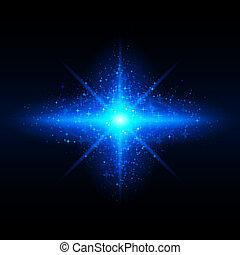 Star galaxy. - Blue glowing galaxy with bright flare in...