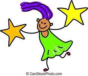star girl - happy little girl holding two stars - toddler...