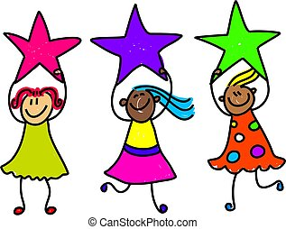 star girls - a group of happy and diverse little girls...