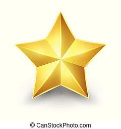 star., glänzend, gold